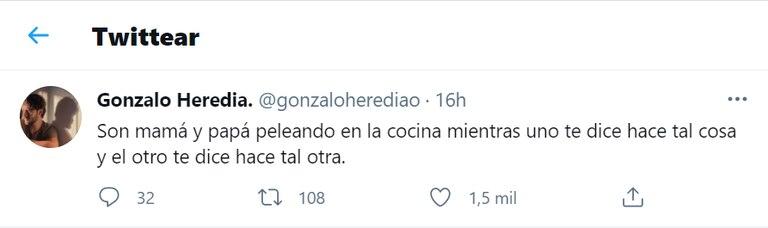 Gonzalo Heredia lanzó un picante comentario para describir la relación entre el presidente Alberto Fernández y el jefe de Gobierno porteño Horacio Rodríguez Larreta.