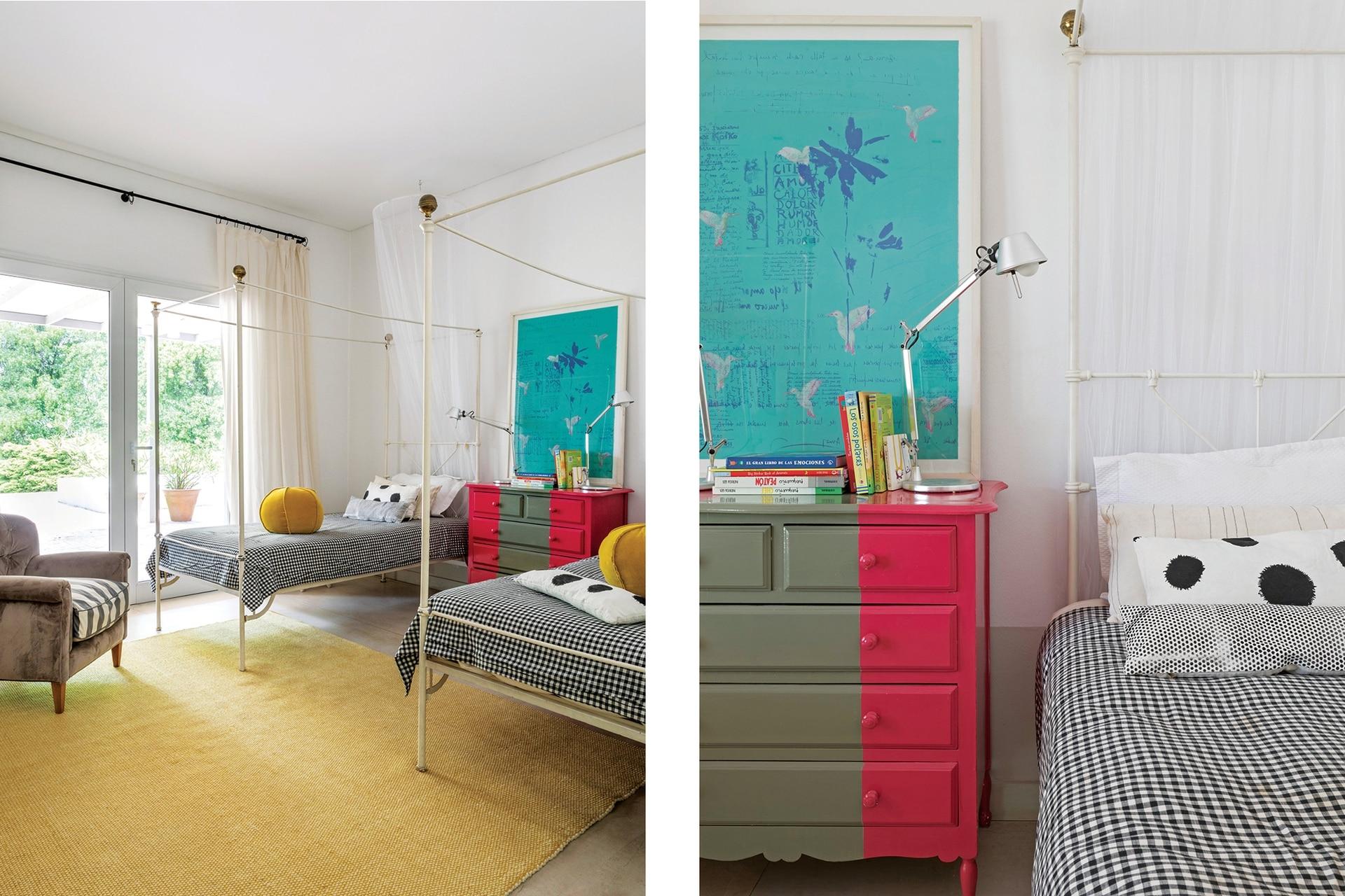 Alfombra amarilla de lana (Rug It). Sobre la cómoda pintada por los dueños de casa, otra obra de Teresa Magrane.