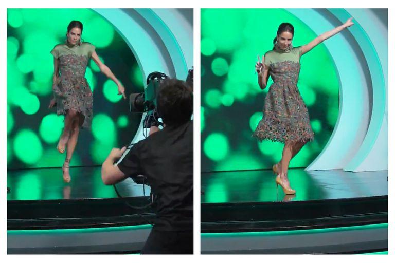 Juana Viale bailó en el comienzo de su último programa y un camarógrafo se sumó