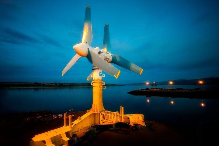 Una vista de la turbina marina AK-1000 en Nueva Escocia, Canadá, un modelo similar al instalado en el océano Atlántico y el Mar del Norte