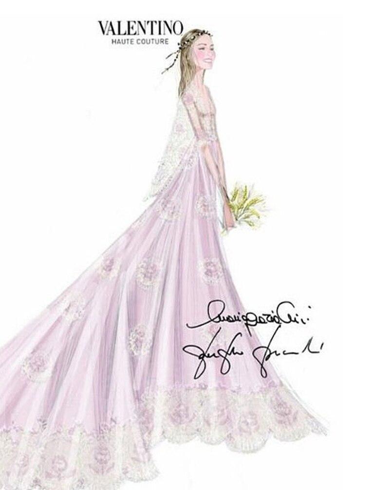 El boceto del vestido que diseñó Maison Valentino para Beatrice Borromeo