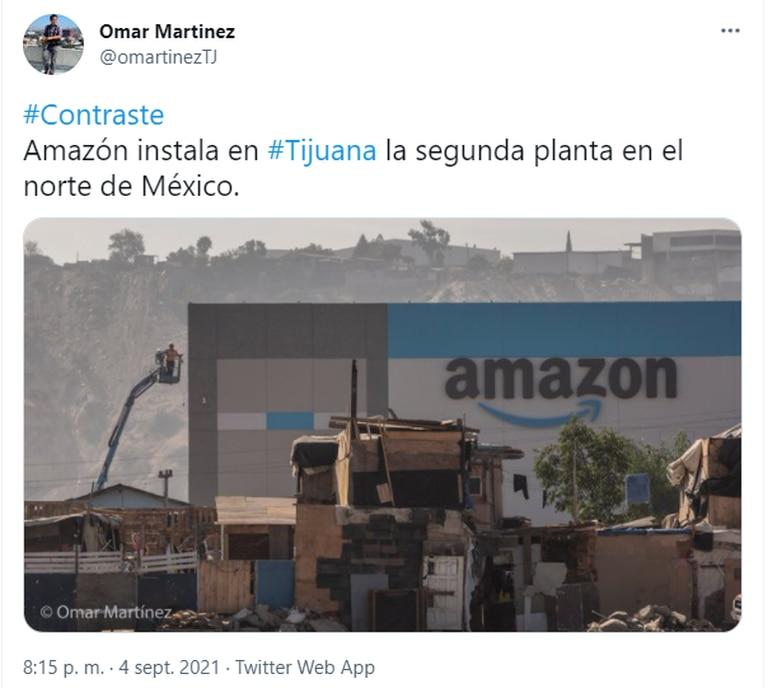El fotógrafo Omar Martínez desató un debate en las redes sociales tras registrar el duro contraste que existe en Tijuana, México, frente a la instalación de un depósito de Amazon en medio de un barrio vulnerable
