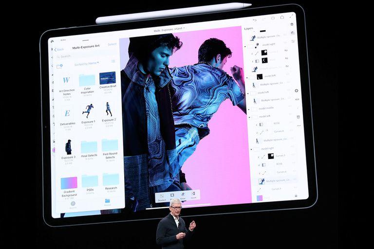Una novedad para el iPad Pro de 2018 es la presencia de una versión completa de Photoshop