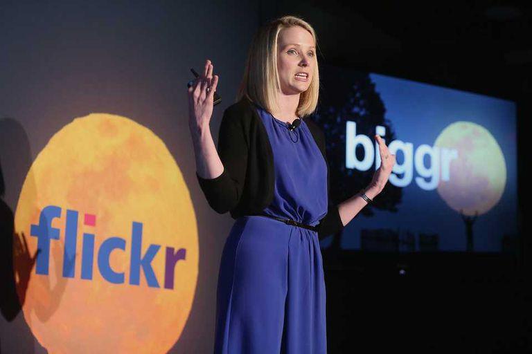 Marissa Mayer, CEO de Yahoo!, durante la presentación del rediseño de Flickr, que ahora tendrá 1 TB de capacidad sin cargo para todos los usuarios