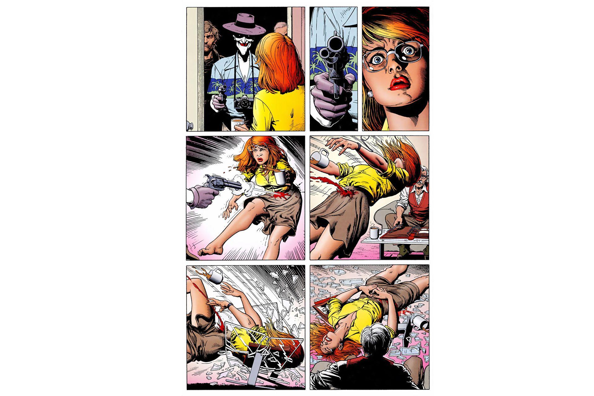 En La broma asesina, el Guasón deja postrada a Batichica. El cómic de Alan Moore y Brian Bolland fue adaptado al dibujo animado en 2016.