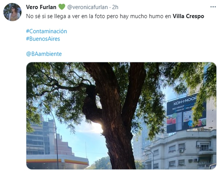 Una vecina de Villa Crespo compartió una imagen de la humareda