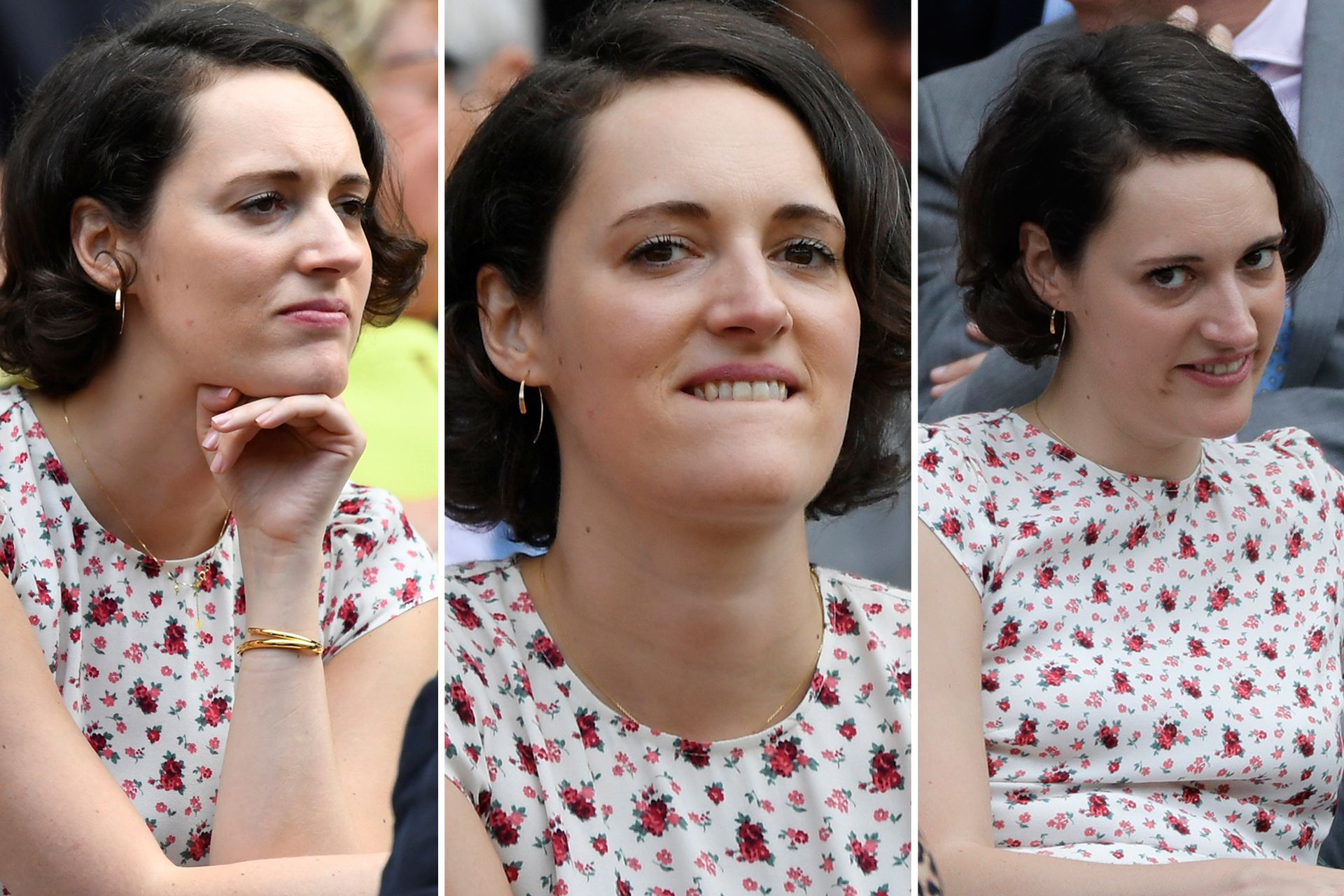 Show de caras: los paparazzi estuvieron muy atentos a todos los gestos que hizo la actriz y guionista Phoebe Waller-Bridge mientras miraba un partido de tennis en Wimbledon