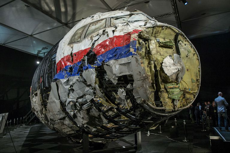 La reconstrucción que se hizo de parte del avión en Holanda