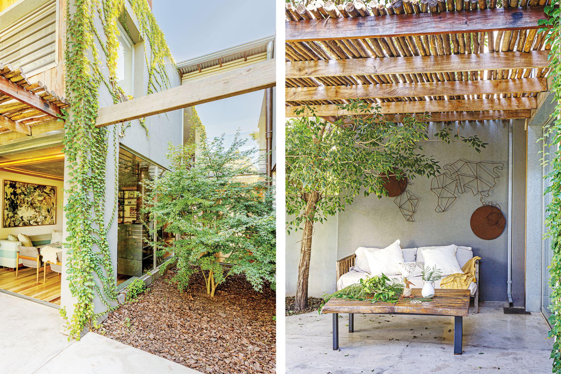 La galería tiene piso de cemento alisado y pulido. Sofá de lapacho, mesa de tronco de cedro y mapamundi de hierro (todo de Javier Zaldívar). Manta y almohadones (Mimi Home Love).