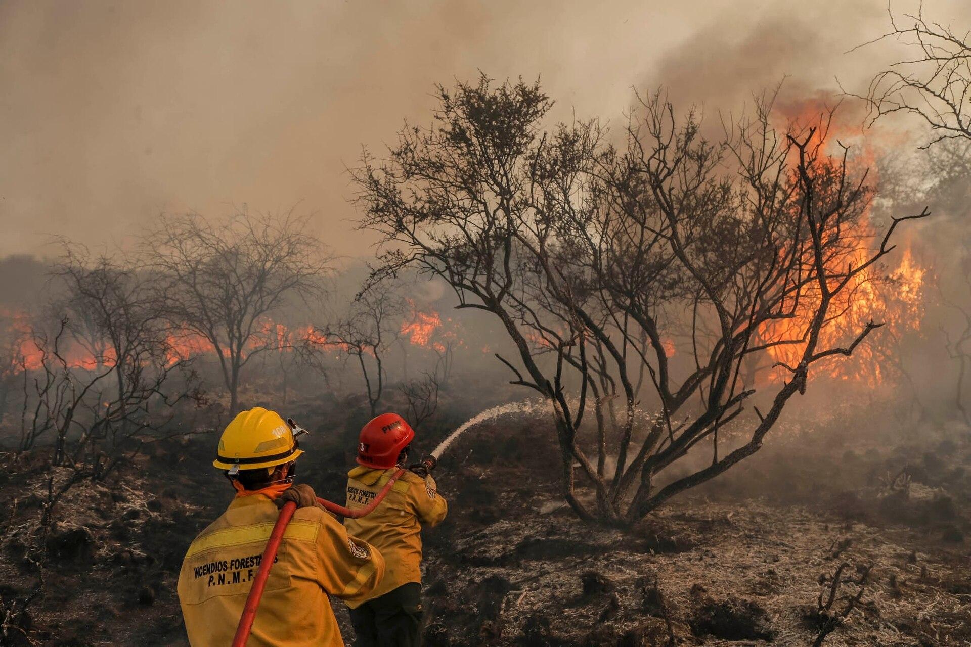 Incendio forestal en la zona de Mina Clavero, Córdoba, el 30 de septiembre de 2019.