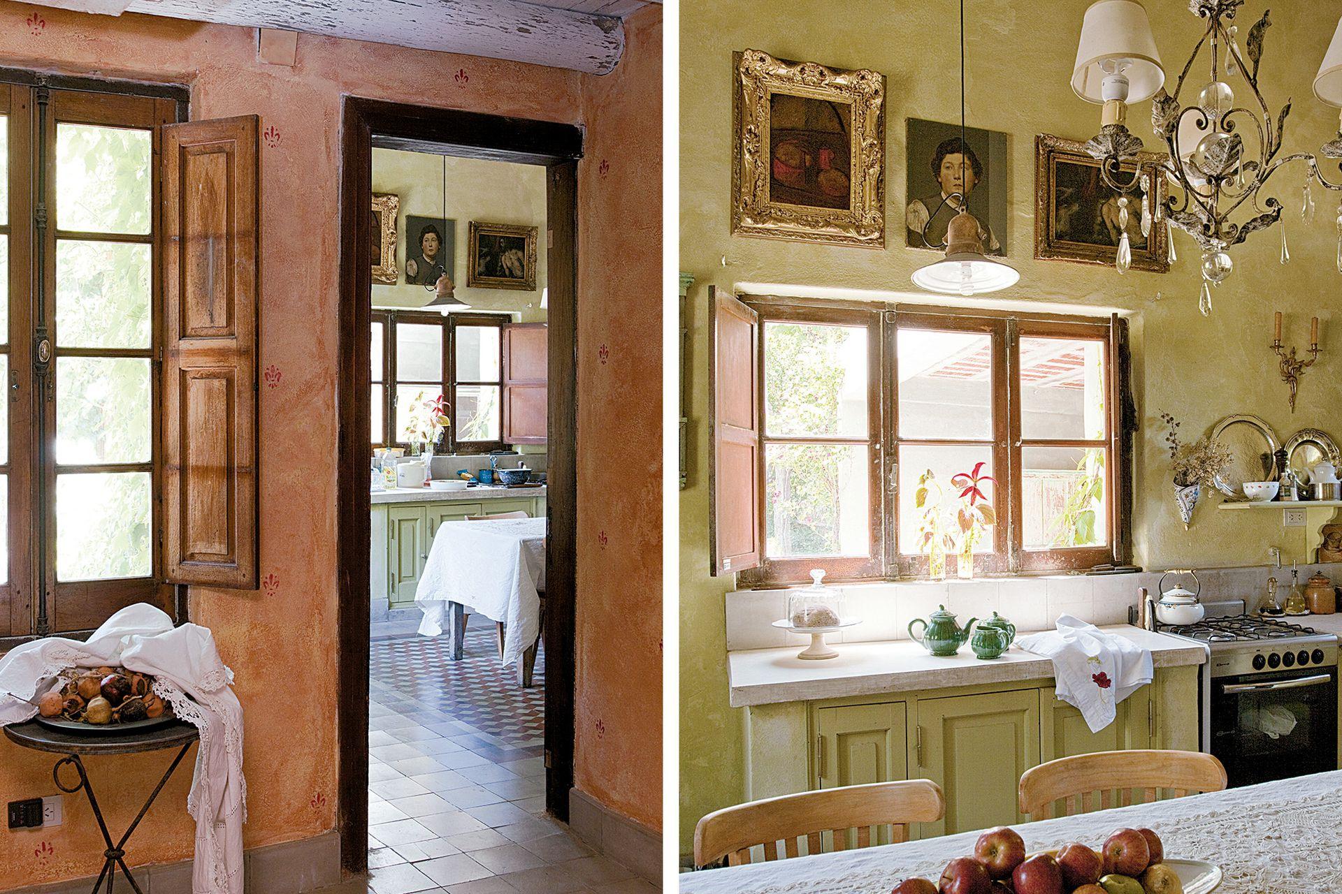 En la cocina, cada centímetro de pared fue trabajado a mano por Carlos y Leo Menna.