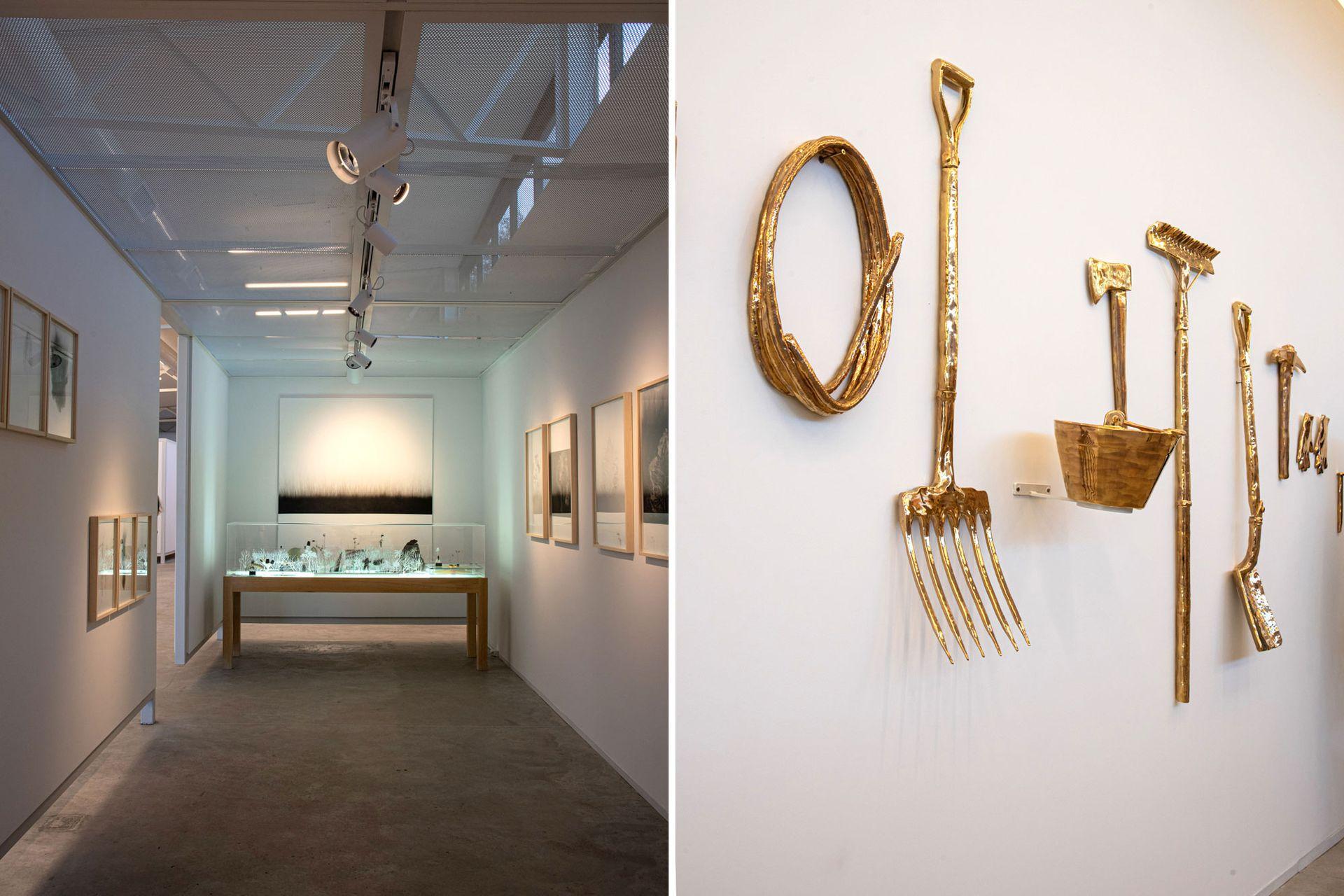 Las obras a resguardo en la galería fueron creadas a partir de materiales recolectados en el campo. En ese espacio cubierto también se realizarán exhibiciones temporales para fomentar el trabajo de diferentes artistas argentinos.