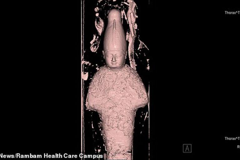 El estudio reveló que dentro del sarcófago había granos densamente compactados y con forma de lodo para representar al antiguo dios egipcio Osiris