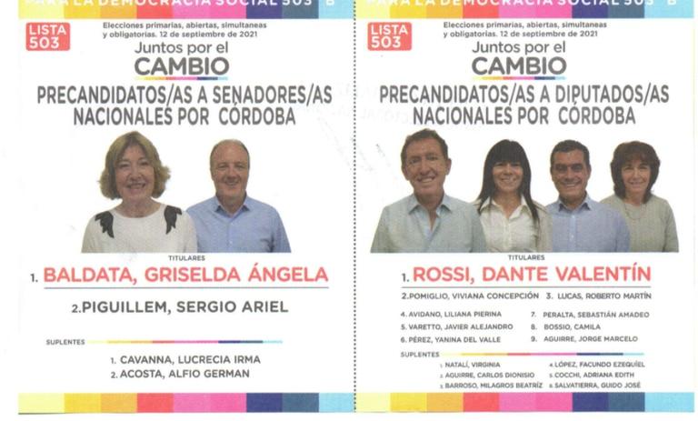 """La lista """"B"""" de Juntos por el Cambio para su interna en Córdoba."""
