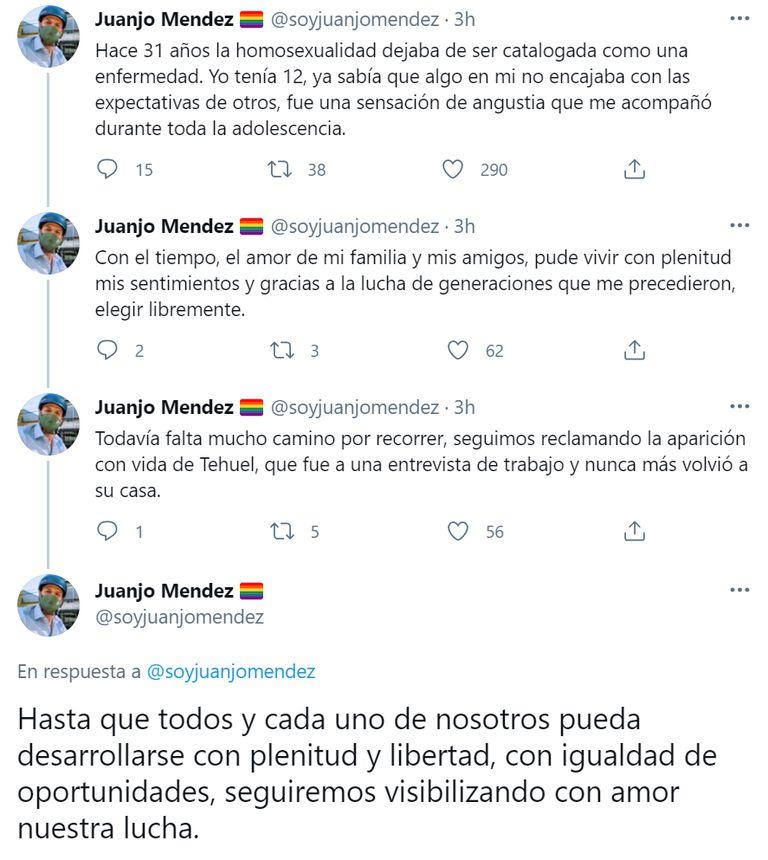 El hilo de Twitter de Juan José Méndez donde relató parte de su historia personal