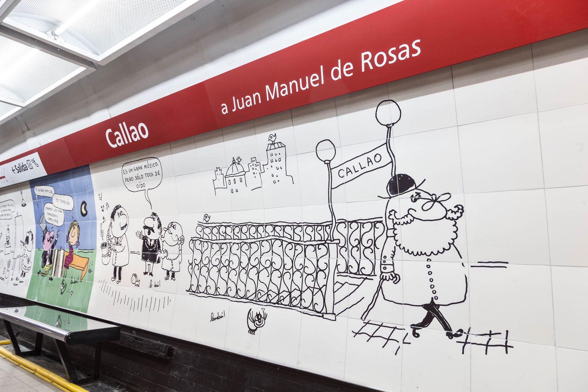 El mural en homenaje a Landrú que se puede ver en la estación Callao de la línea E de subte