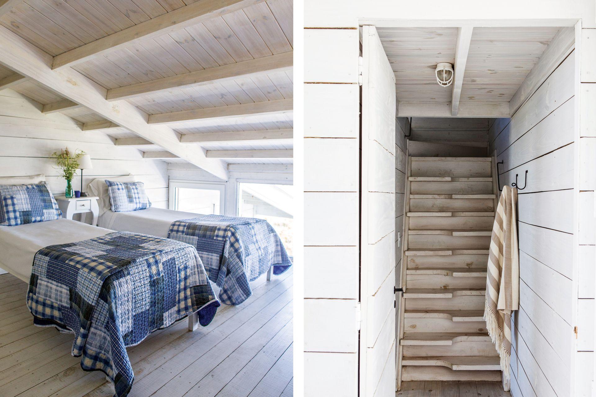 Las escaleras tiene su complejidad pero el encanto del diseño marítimo que tiene Tamariscos.