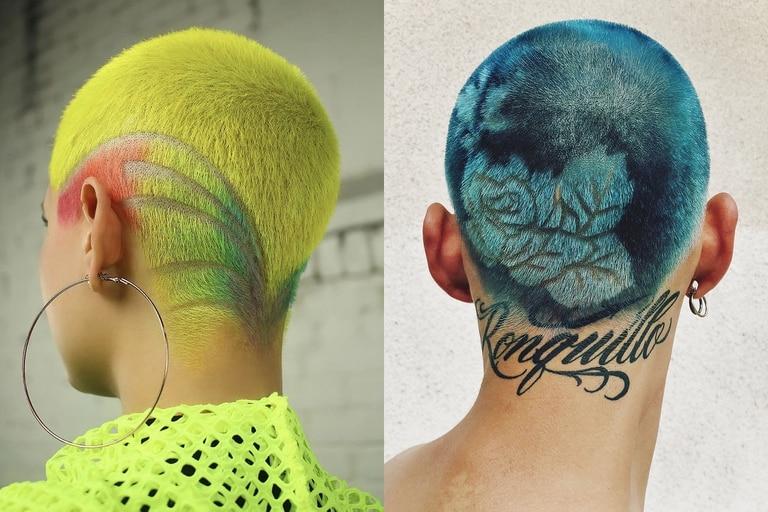 Dos estilos en el arte efímero de los tatuajes en el pelo
