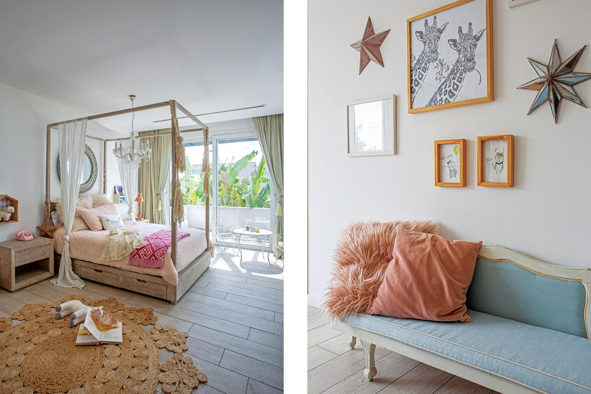 En el dormitorio de la hija mayor, cama y mesa de noche (Restoration Hardware), alfombra (Rapsodia Home), cuadros y estrellas, de Alegría Hunterdeco.