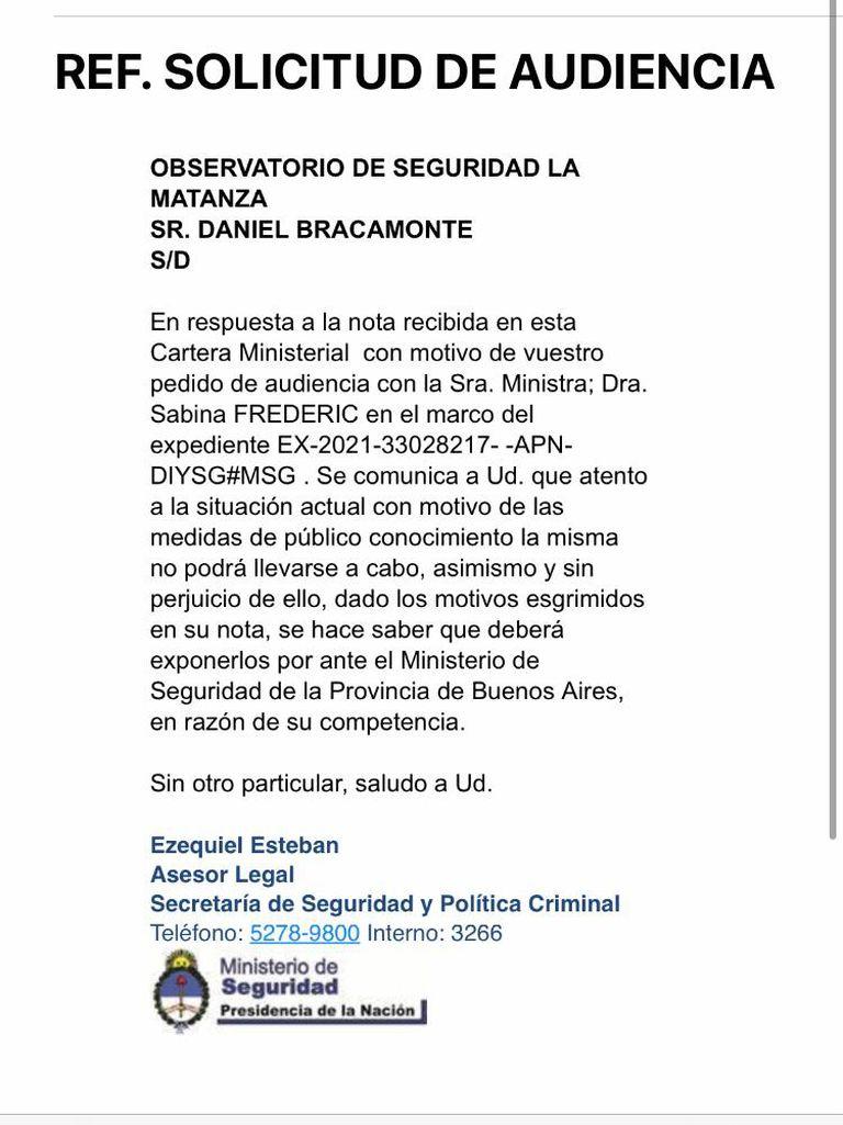 Respuesta del ministerio de Seguridad a los vecinos de La Matanza