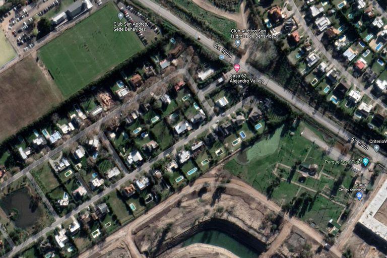 Imagen aérea del barrio donde Maradona continuará su tratamiento