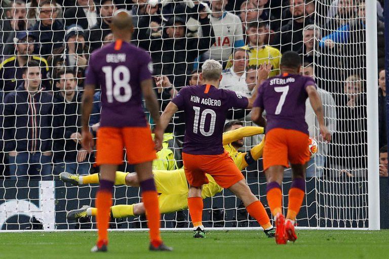 Agüero falló un penal en la derrota de Manchester City ante Tottenham
