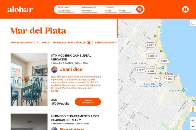 Una vista de Alohar, uno de los tantos sitios argentinos para alquiler temporal