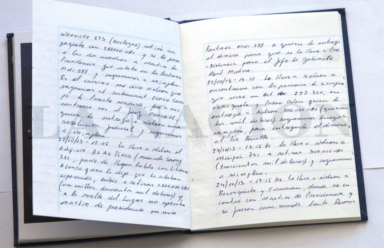 Uno de los cuadernos de las coimas en la era kirchnerista