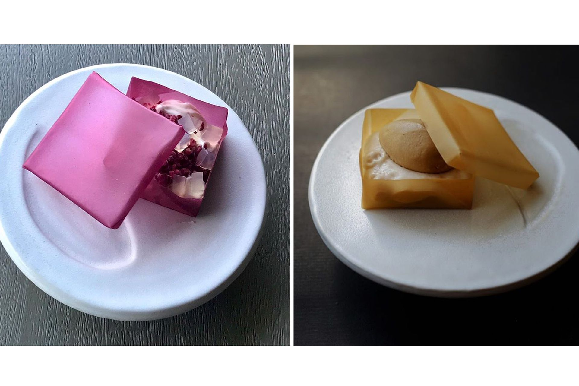 Las cajitas comestibles: de hibiscus, mousse de yogur, ganache de frambuesa y gelee de néctar de saúco y la de dulce de leche, espuma de banana, gelée de café y Bourbon con banana al caramelo y helado de dulce de leche
