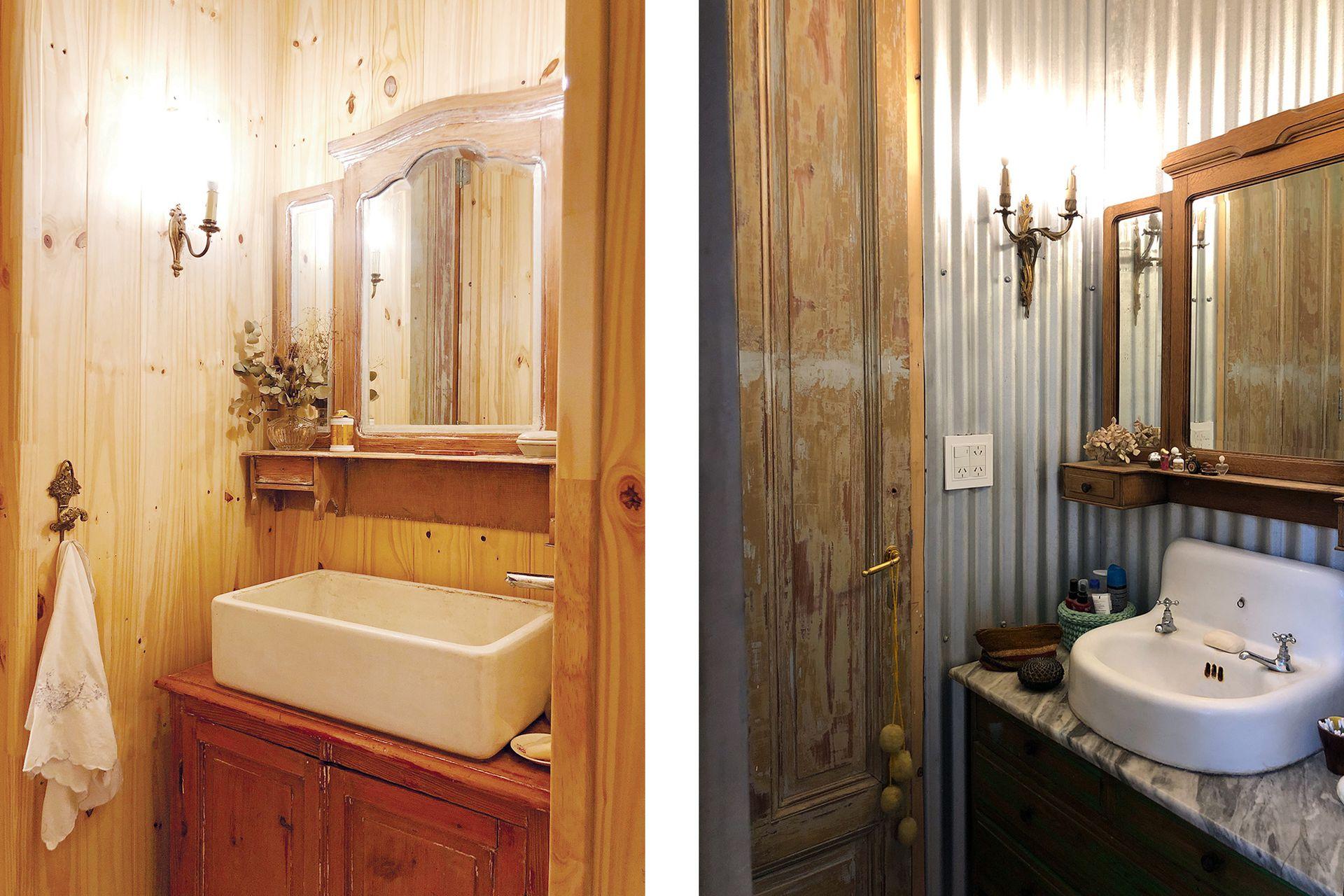 Uno revestido en madera; otro en chapa. Los dos de igual estilo campero y vintage.