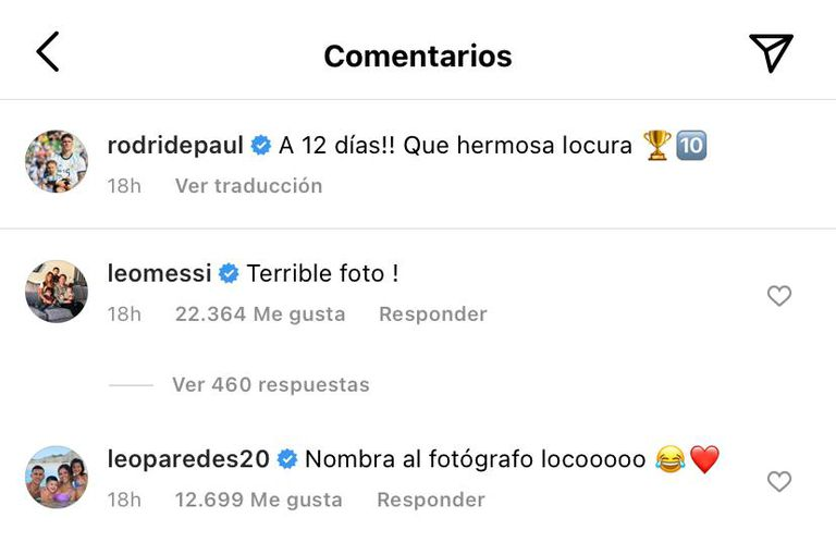 Los comentarios de Messi y Paredes en la foto de De Paul