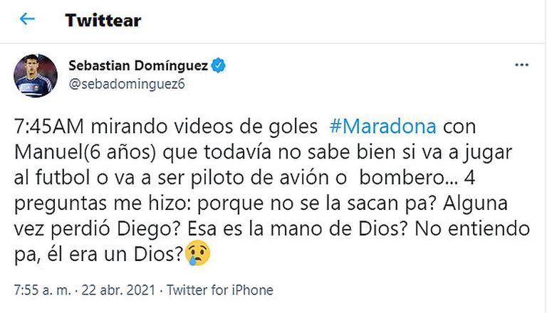Sebastián Domínguez contó qué le preguntó su hijo sobre Maradona