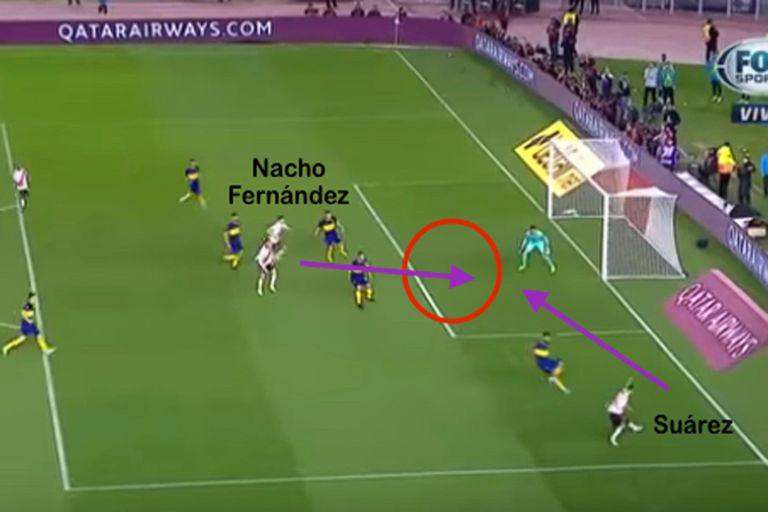 Tras la pared entre Nacho Fernández y Suárez, llegó el centro atrás y la definición del volante atacando el primer palo