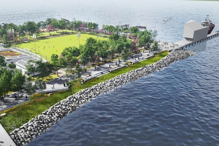 El diseño logra crear una sensación de separación entre dos espacios muy diferentes: un campo de deportes activo, un jardín contemplativo, un paseo marítimo tranquilo y una playa
