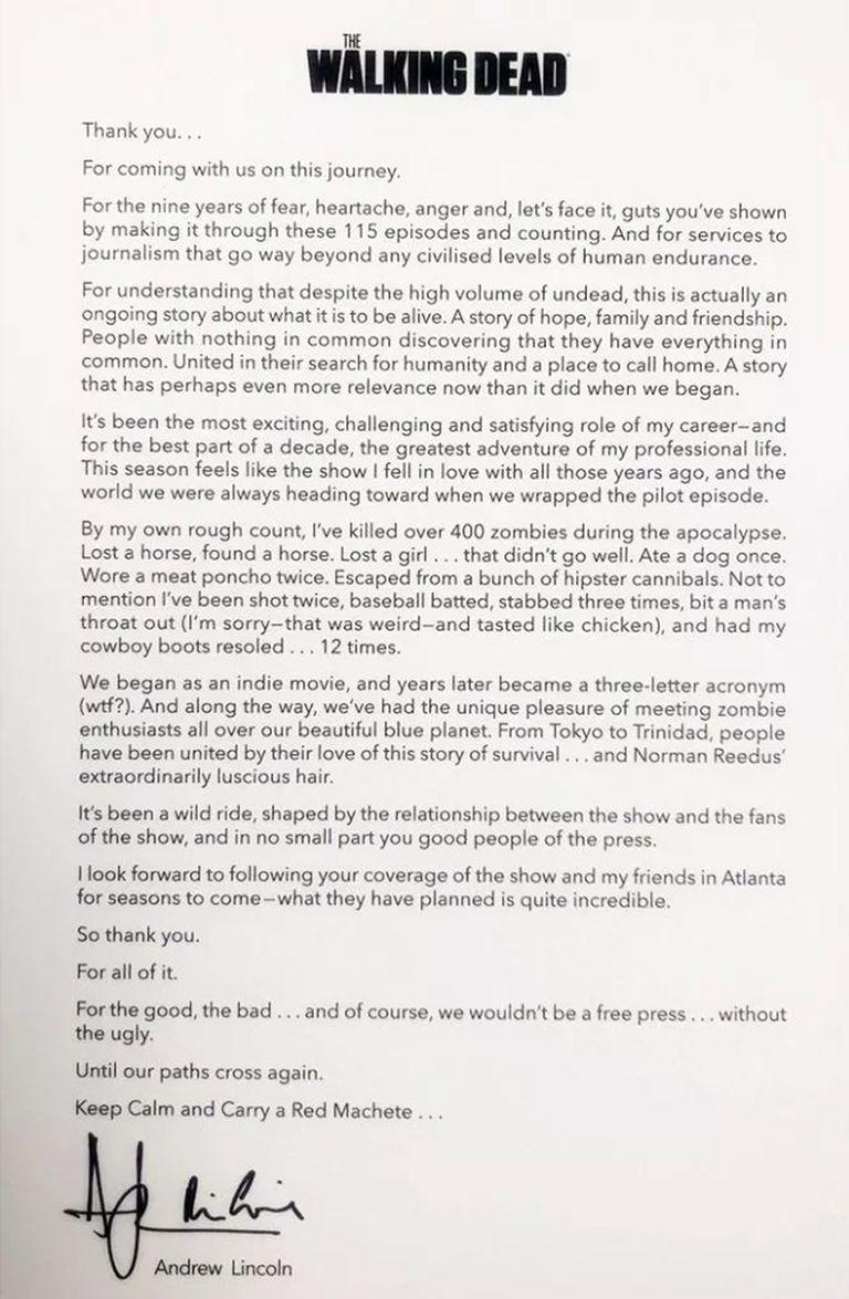 La carta de Andrew Lincoln