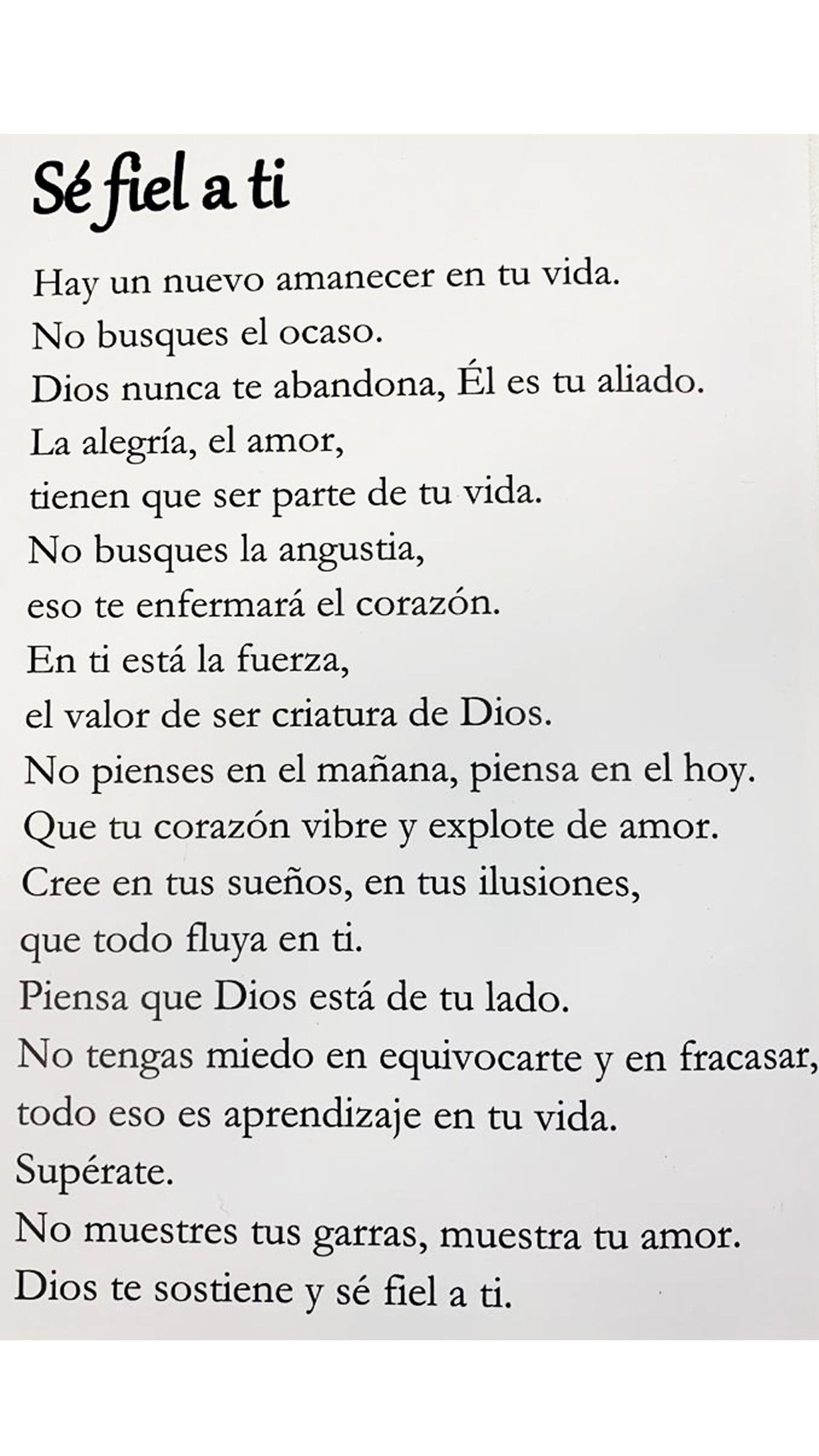 """La primer poesía que escribió Georgie con Jorge Vega se llamo """"Sé fiel a ti"""" y al día de hoy, continúa siendo su favorita."""