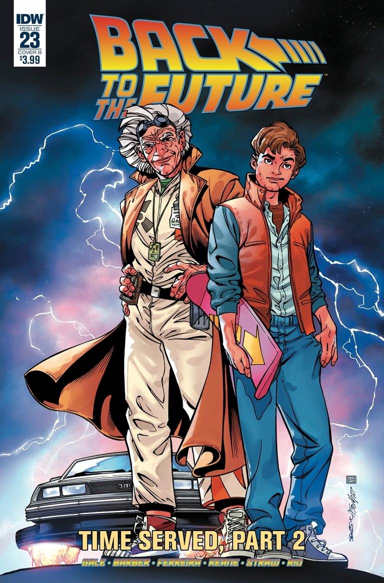 Portada del cómic escrito por Bob Gale, co-creador de la saga. Dibujo de Bart Sears