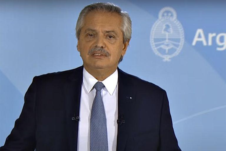 El presidente Alberto Fernández durante los anuncios