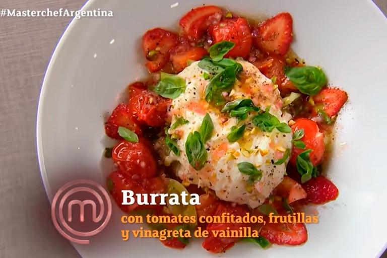 La burrata con tomates confitados, frutillas y vinagreta de vainilla