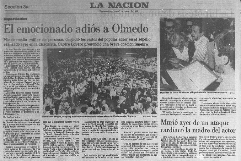 La noticia de la muerte de Olmedo paralizó al país. Así lo cubrió LA NACION