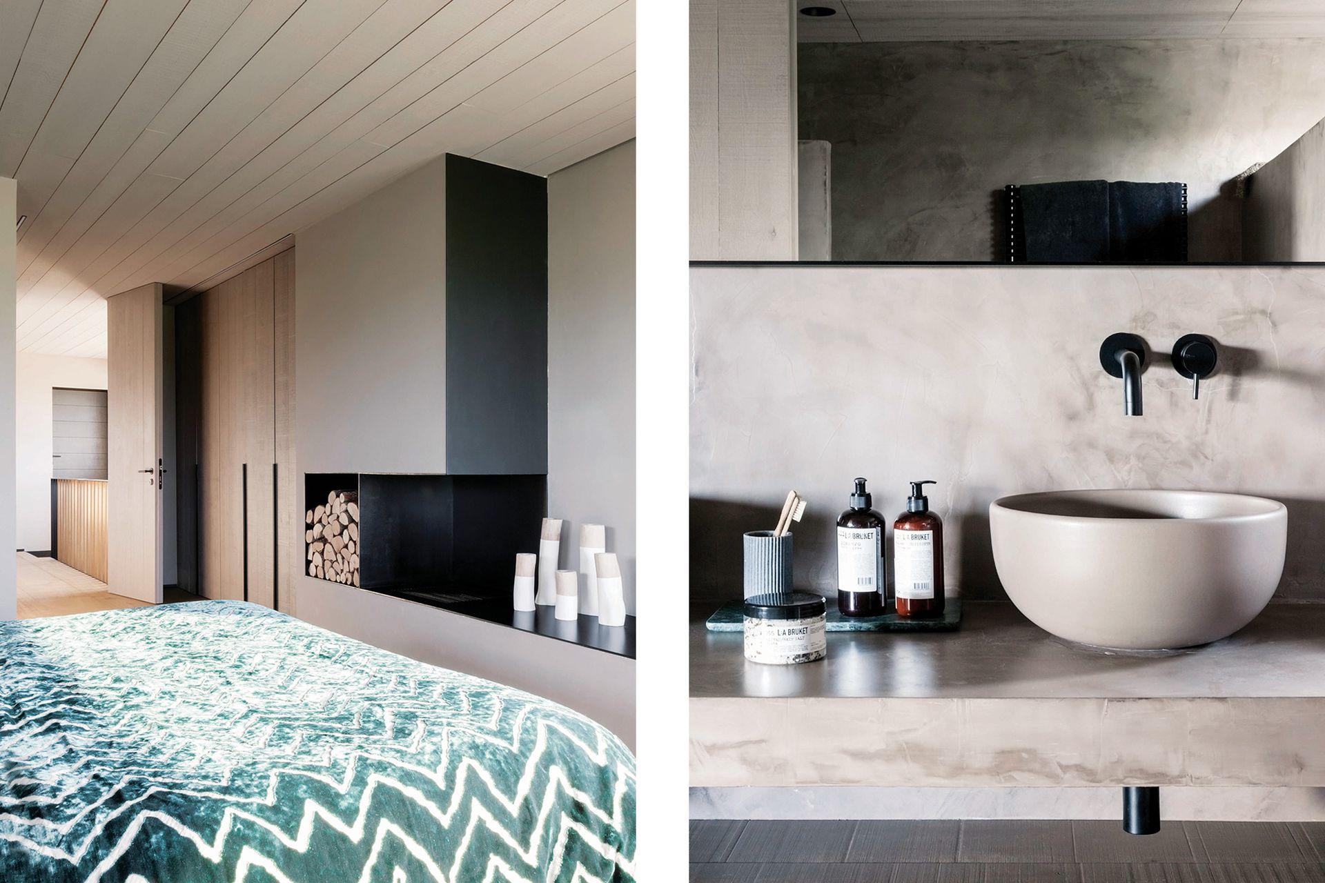 El baño sigue la misma línea estética del resto de la casa con revestimiento y mesada en microcemento color visón, y grifería negra 'Ottavo' (Quadro Design).
