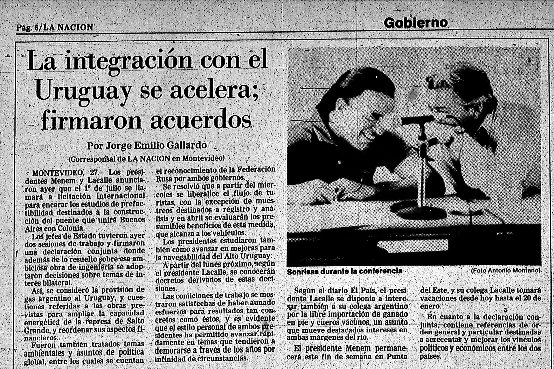 Nota publicada en LA NACION del 28 de diciembre de 1988