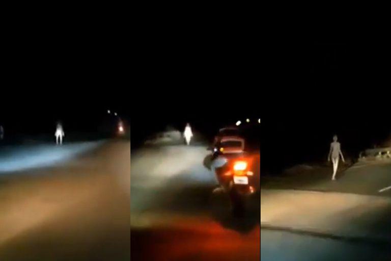 Una extraña criatura fue vista caminando por una ruta de India y los pobladores del lugar creen que podría ser un alienígena