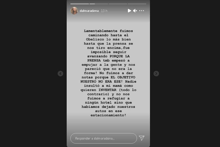 Dalma utilizó su cuenta de Instagram para aclarar por qué se fueron del lugar