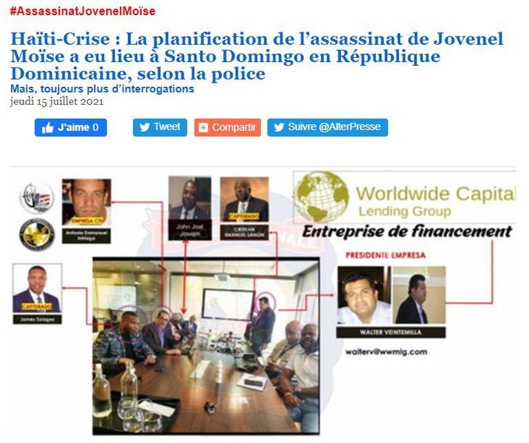 El medio haitiano Alter Presse compartió las imágenes de la reunión en la que se planificó el magnicidio