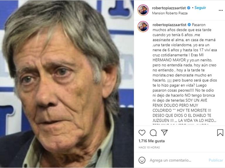El crudo posteo de Roberto Piazza para despedir a su hermano mayor Ricardo, quien lo sometió a abusos sexuales desde los 6 a los 17 años