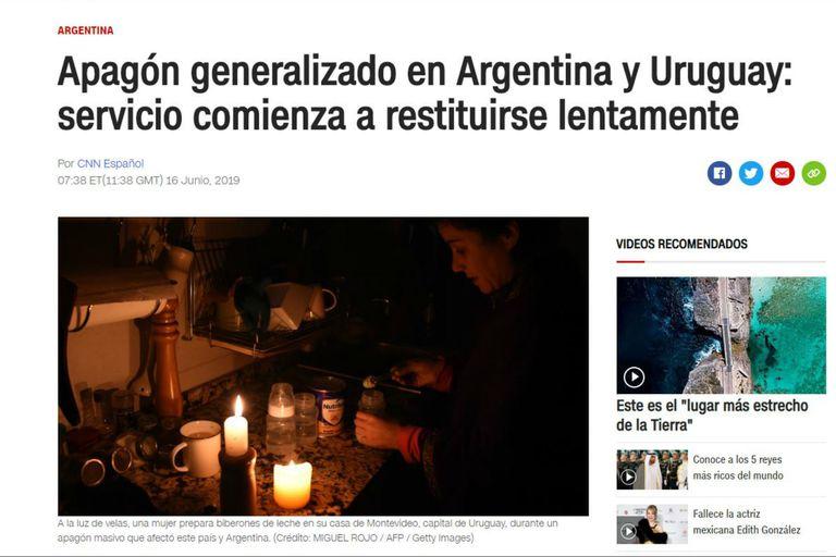 CNN en Español da cuenta de la falla masiva de energía e informa que el servicio volverá de manera lenta