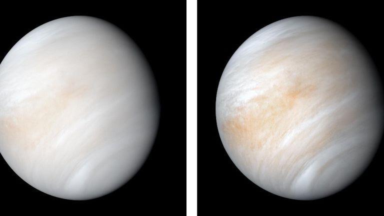 La NASA publicó en 2020 estas imágenes de Venus envuelta en nubes, obtenidas al procesar con nuevos softwares datos de la misión Mariner 10 de 1974