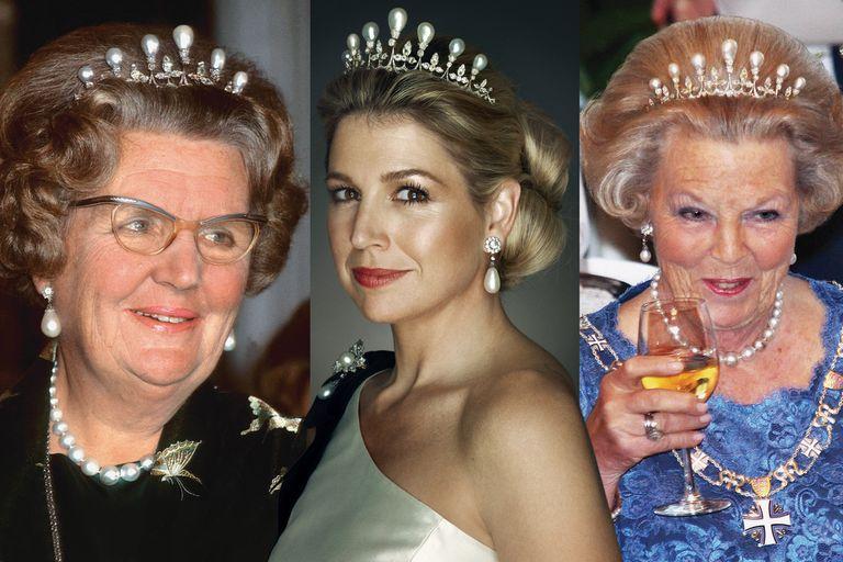La reina Juliana, Máxima y la reina Beatriz, con la tiara de las siete perlas, una de las piezas más antiguas de la Casa Orange, que perteneció a Anna Pavlovna, nacida princesa de Rusia.