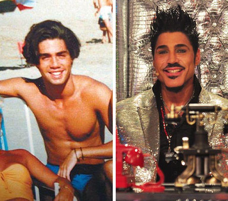 Ricardo joven en la playa y en sus últimos años, al frente de su programa de televisión